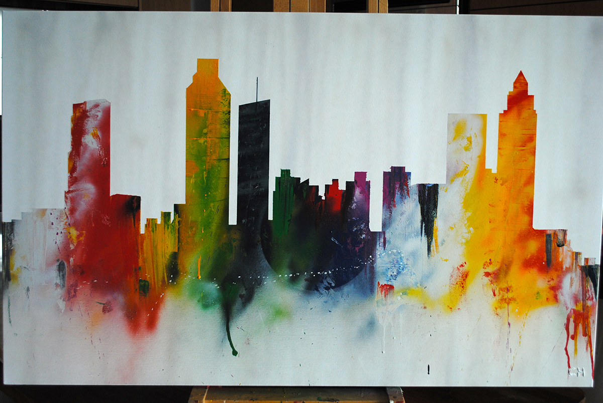 abstract city paintings images