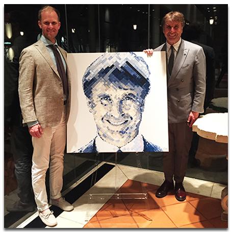 Atlanta, Charlie Hanavich presents Italian fashion icon Brunello Cucinelli with a special portrait.