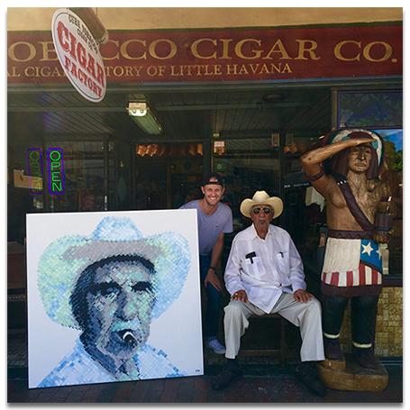 Charlie Hanavich with Don Pedro Bello, famous tobacco hand roller fo the Cuba Tobacco Cigar Co. in Little Havana, Miami.
